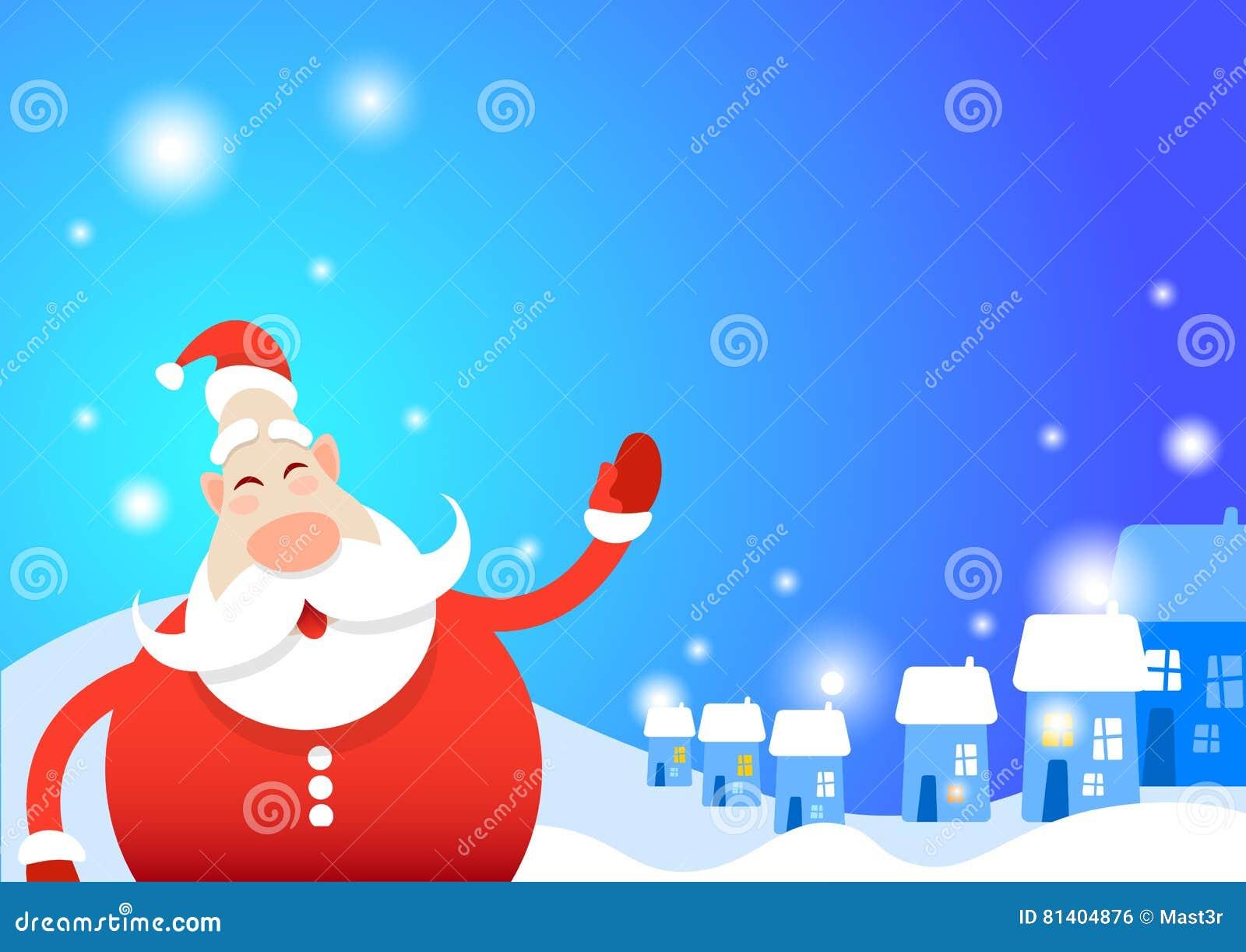Bandeira do cartão do Feliz Natal do ano novo feliz de Santa Clause Snowy House Village