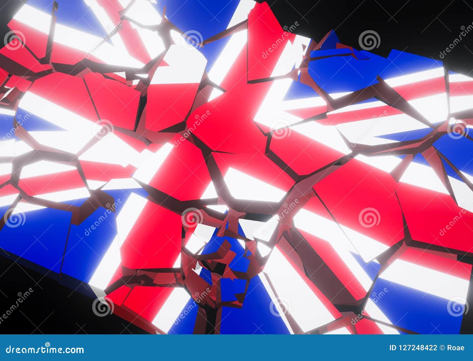 Bandeira do colapso do estado de Reino Unido 3d rendido