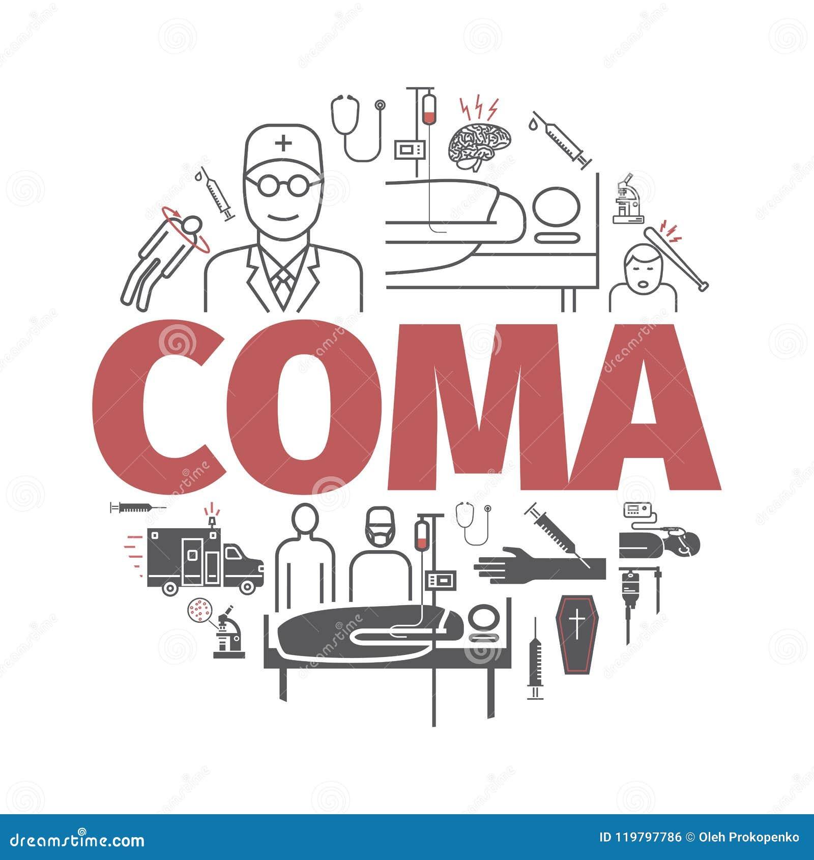 Bandeira do coma Cama de hospital Linha ícones de Infographic Vetor