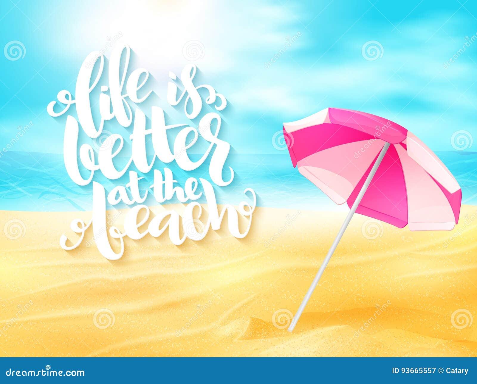 Bandeira Do Curso Do Verão Do Vetor Com Frase Do Guarda Chuva E Da