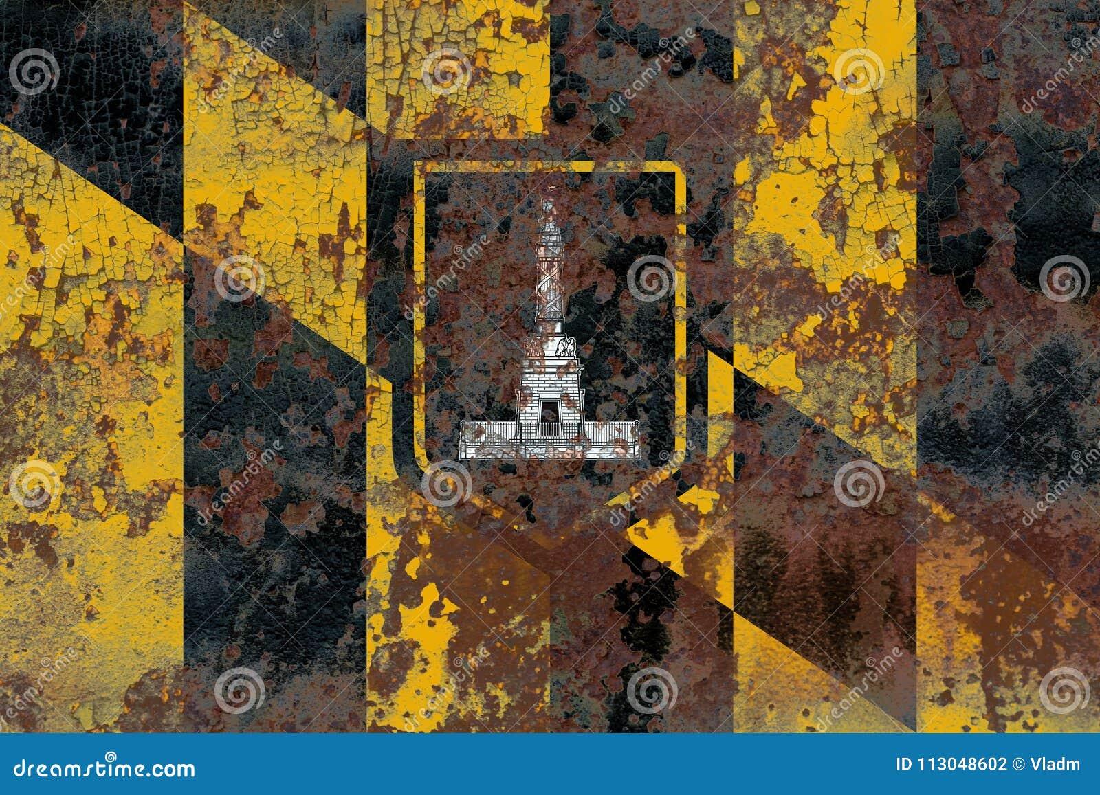 Bandeira do fumo da cidade de Baltimore, estado de Maryland, Estados Unidos de Amer