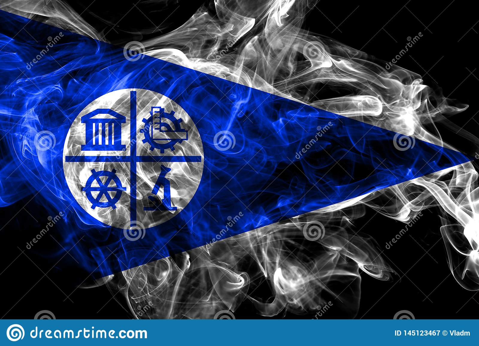 Bandeira do fumo da cidade de Minneapolis, estado de Minnesota, Estados Unidos da Am?rica