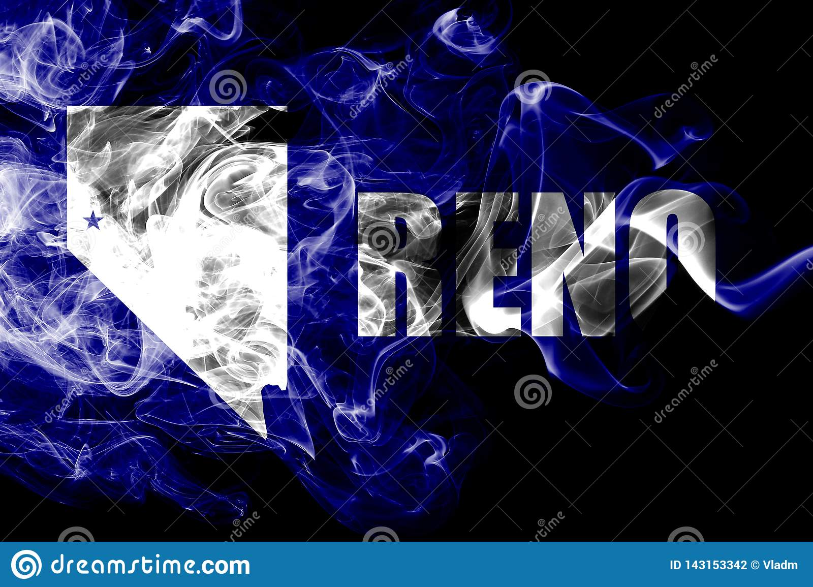 Bandeira do fumo da cidade de Reno, Nevada State, Estados Unidos da América