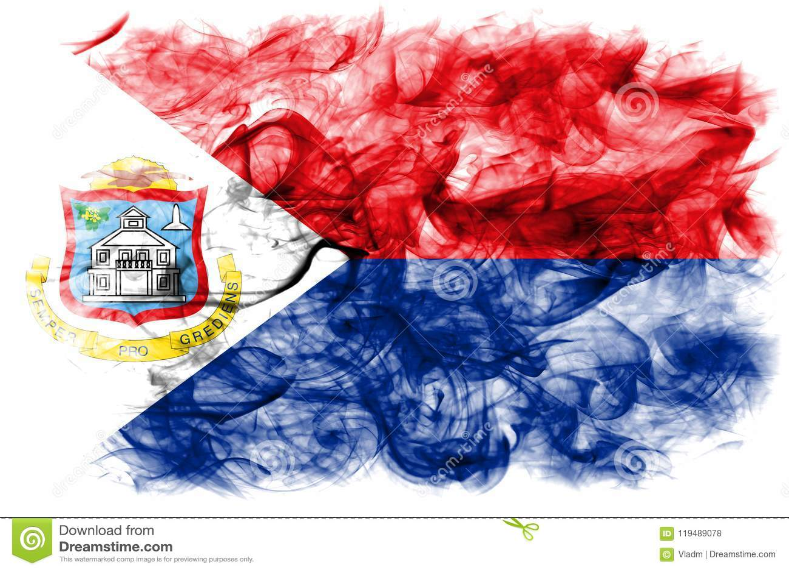 Bandeira do fumo de Sint Maarten, bandeira dependente holandesa do território