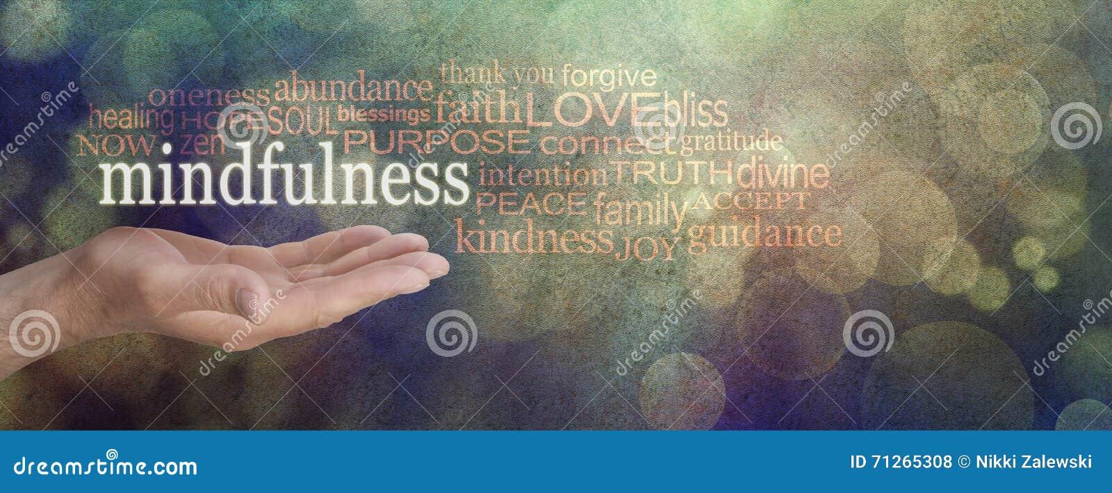 Bandeira do Grunge da nuvem da palavra do Mindfulness