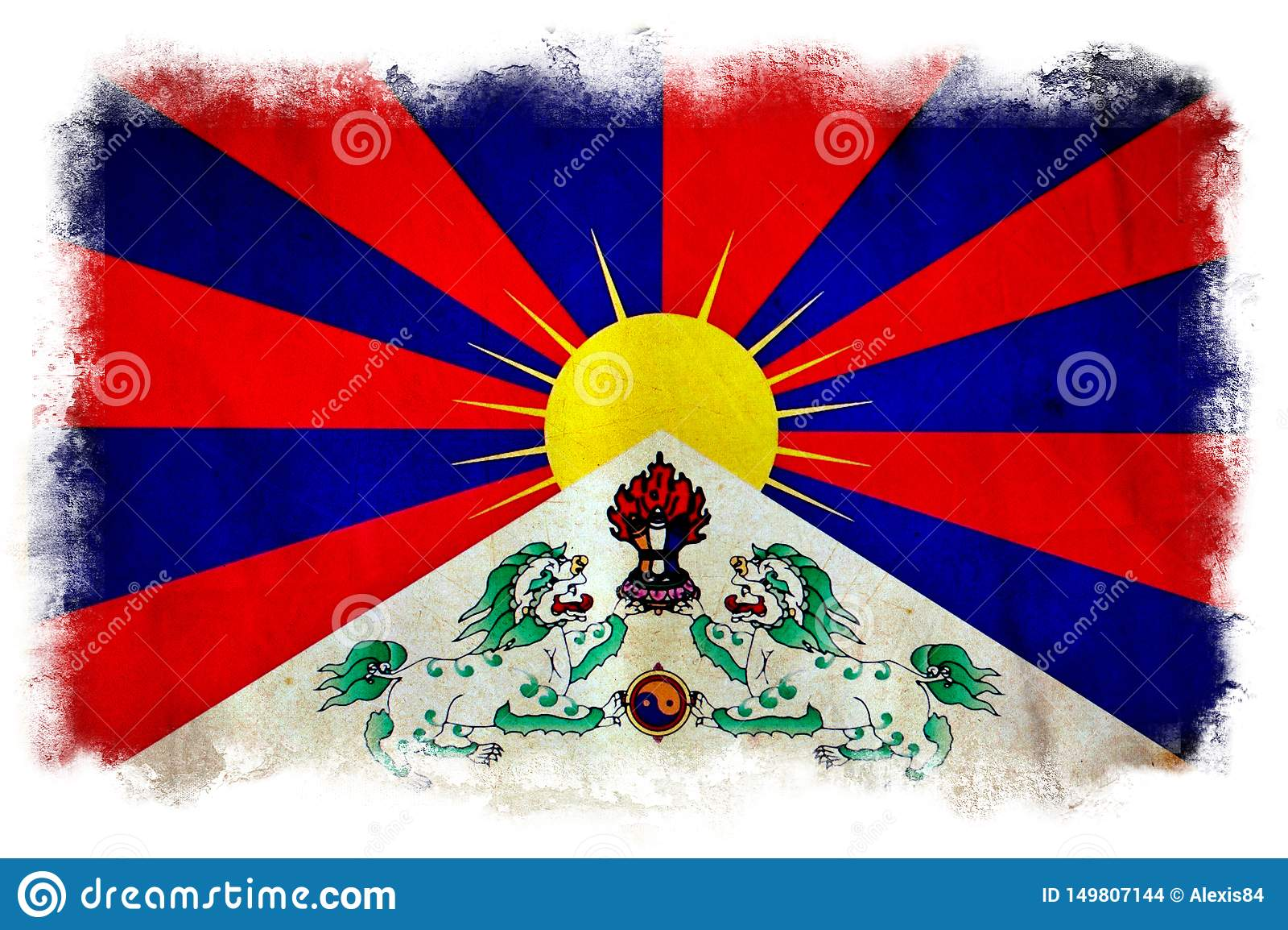 Bandeira do grunge de Tibet