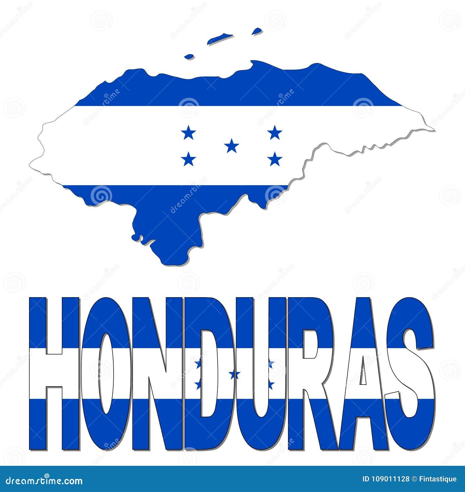 Bandeira Do Mapa Das Honduras E Ilustracao Do Texto Ilustracao