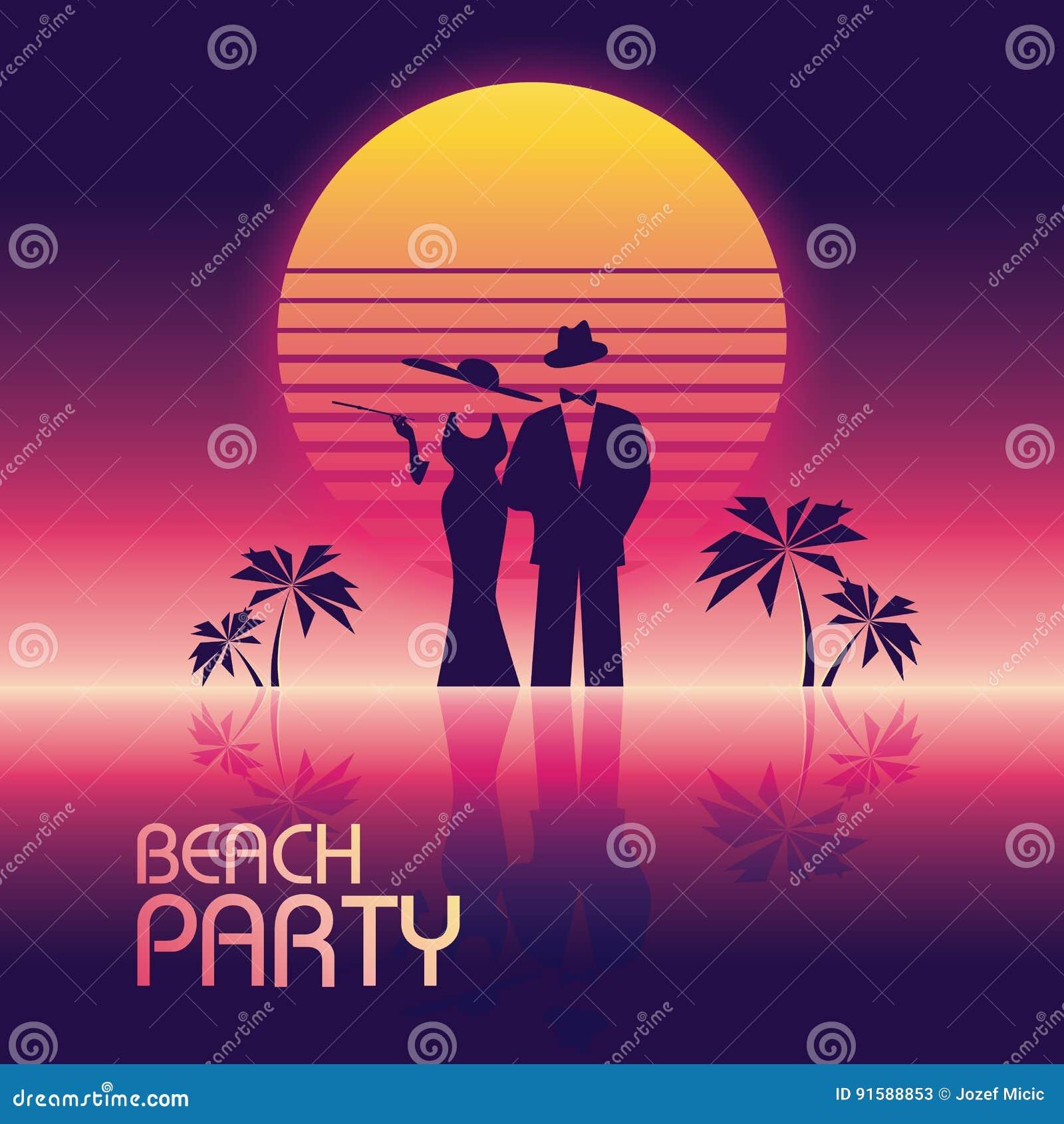 Bandeira do vetor do partido da praia do verão ou molde do inseto estilo de néon retro do fulgor 80s Homem elegante, à moda no te
