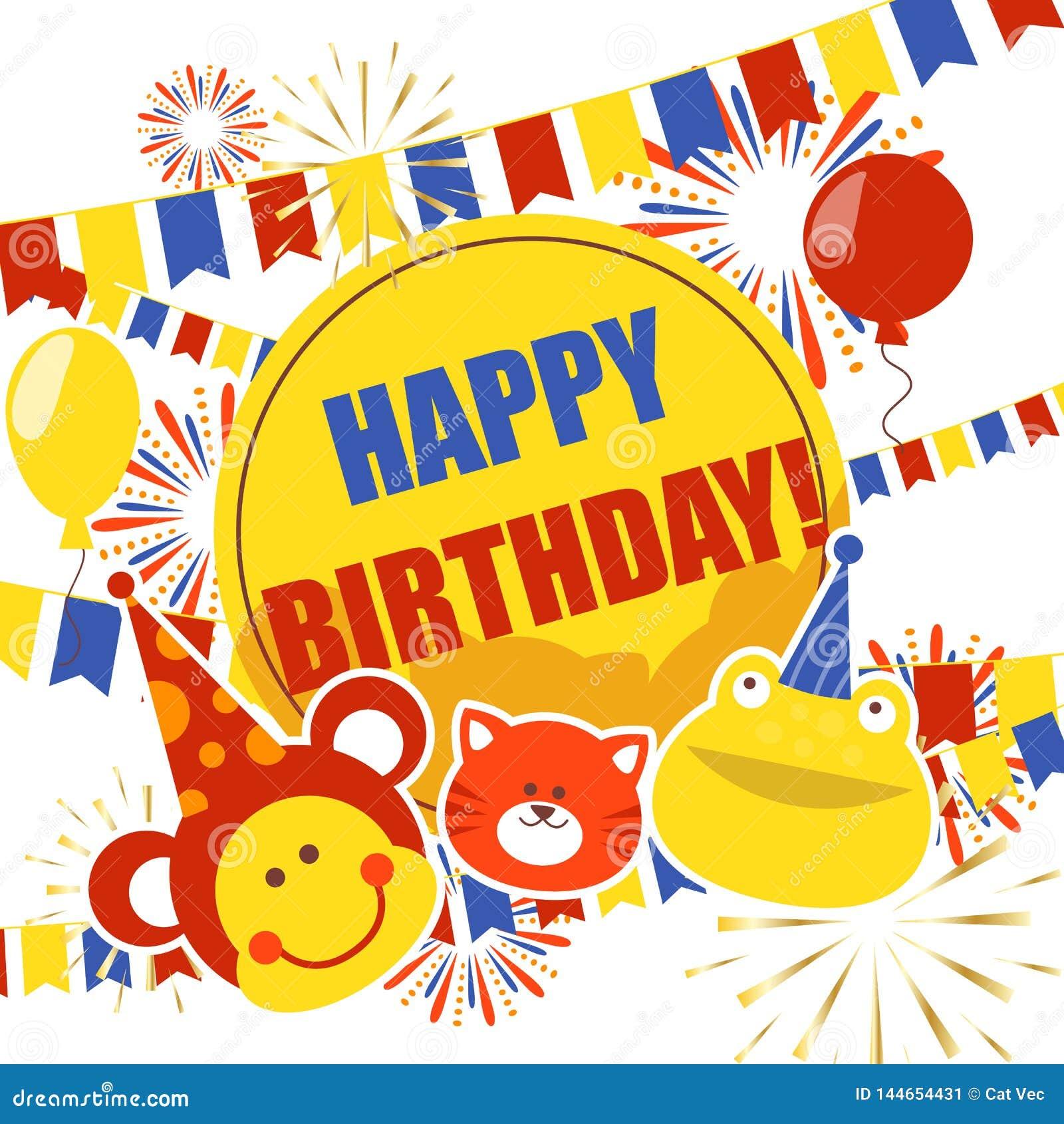 Bandeira dos crachás do feliz aniversario, ilustração do vetor do cartaz Balões, saudação, gato, presente, presente, rã, macaco,