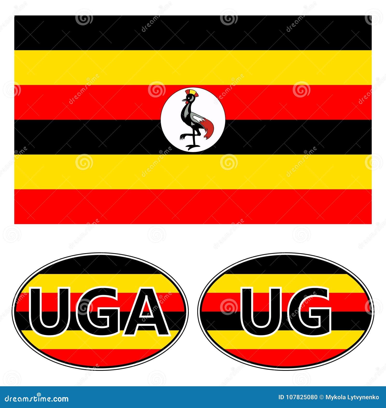 A Bandeira E As Etiquetas No Carro De Uganda, Bandeira Da Etiqueta