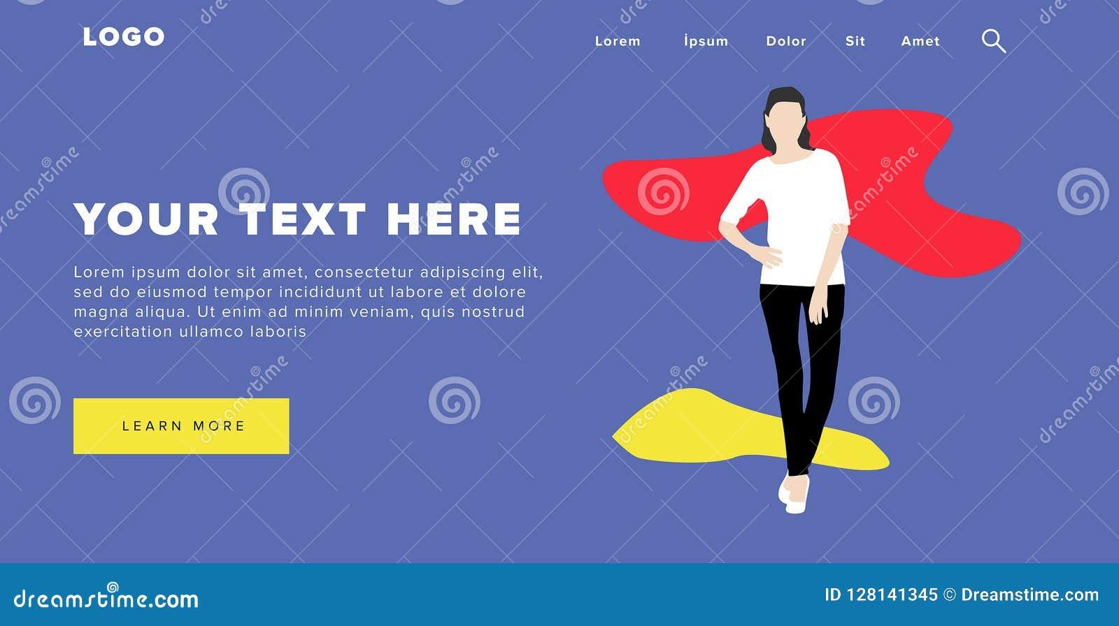 A bandeira e o slider coloridos modernos da Web do projeto liso incluem elementos de Ui com a página ereta da aterrissagem da sil