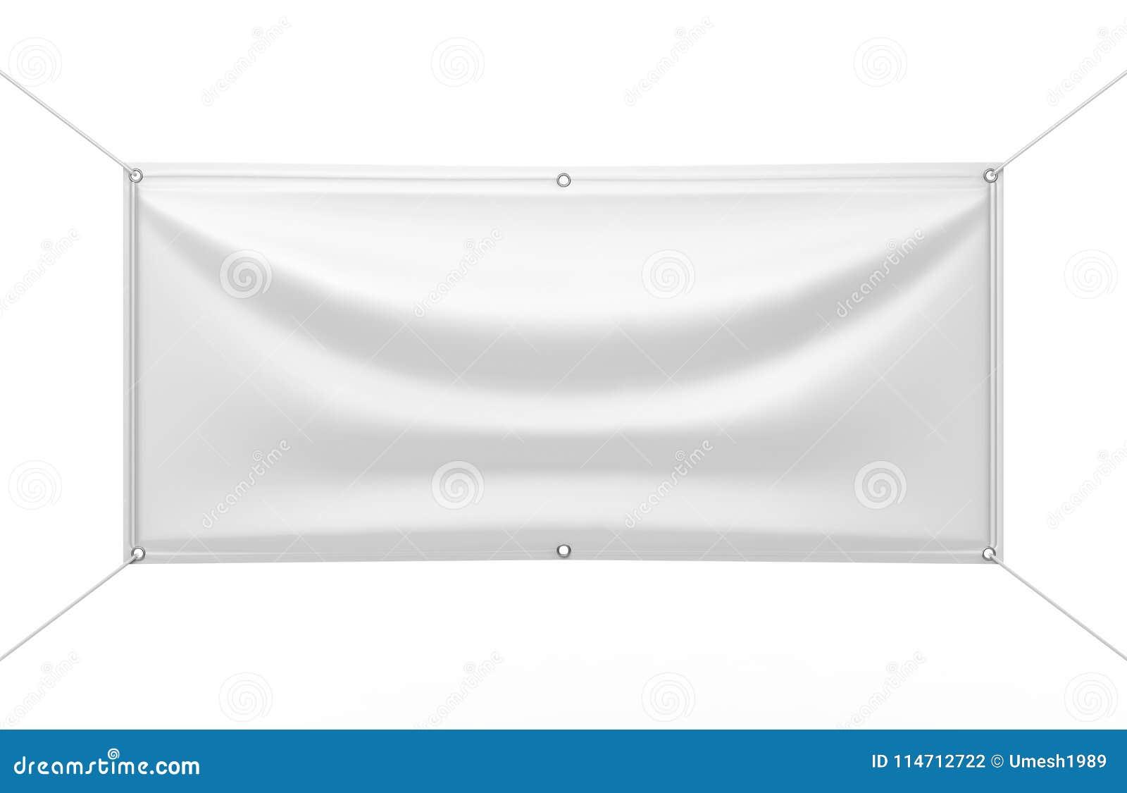 Bandeira exterior interna branca vazia do vinil da tela & do Scrim para a apresentação do projeto da cópia 3d rendem a ilustração