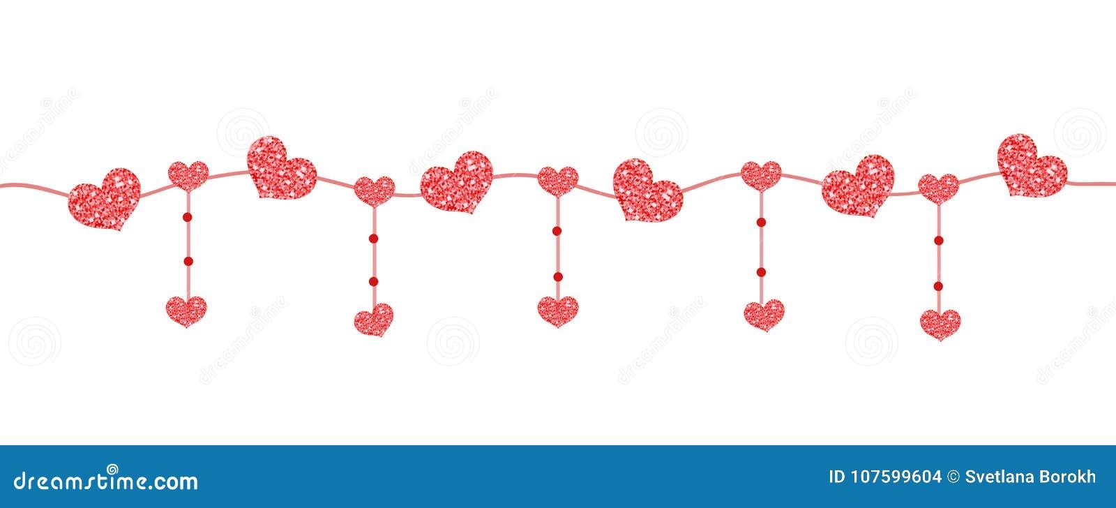 Bandeira feliz do dia do ` s do Valentim com os corações feitos do brilho Beiras horizontais brilhantes Efervescência de brilho r