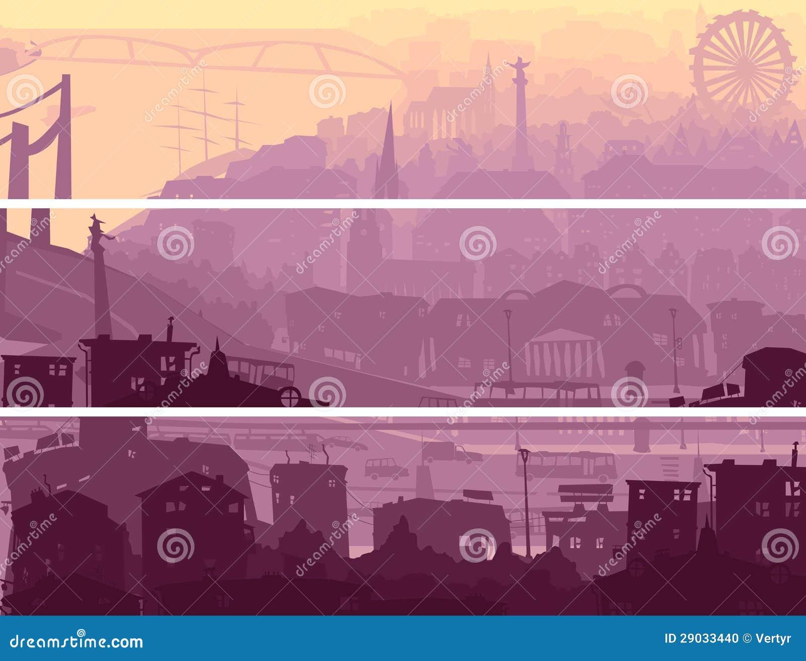 Bandeira horizontal abstrata da cidade grande no por do sol.