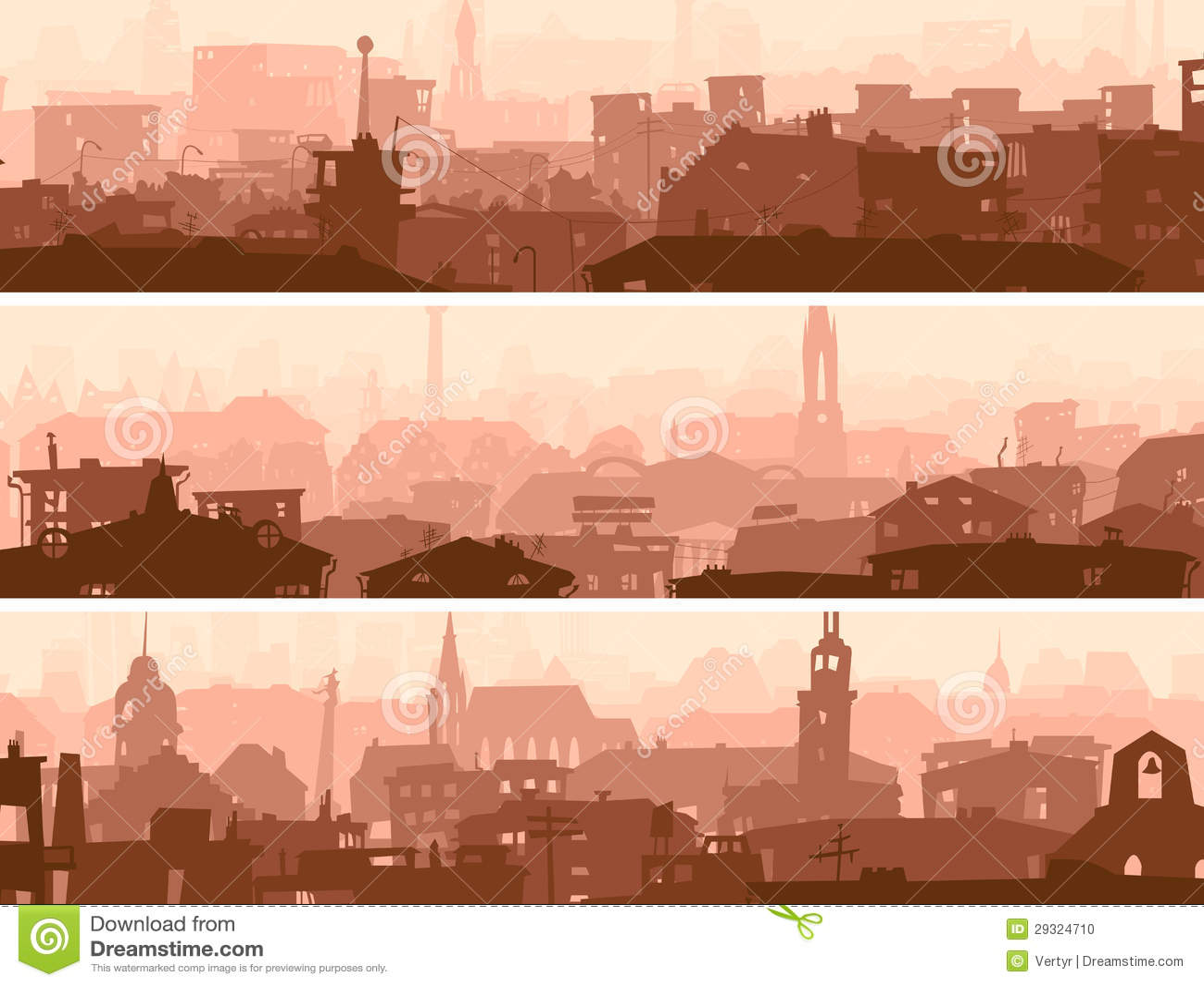 Bandeira horizontal abstrata de telhados da cidade.