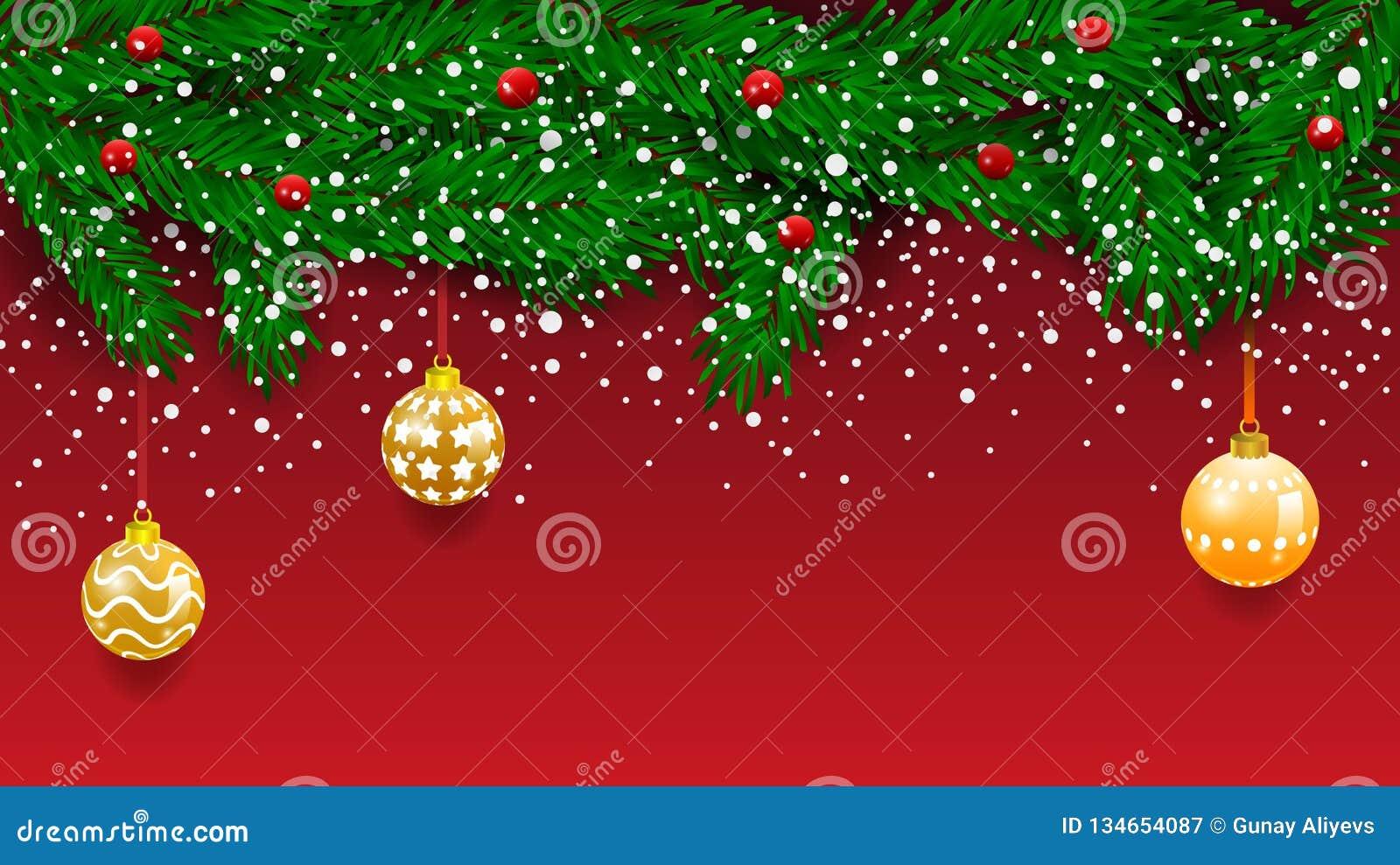 Bandeira horizontal com a festão e os ornamento da árvore de Natal Ouro e fitas de suspensão Grande para insetos, cartazes, encab