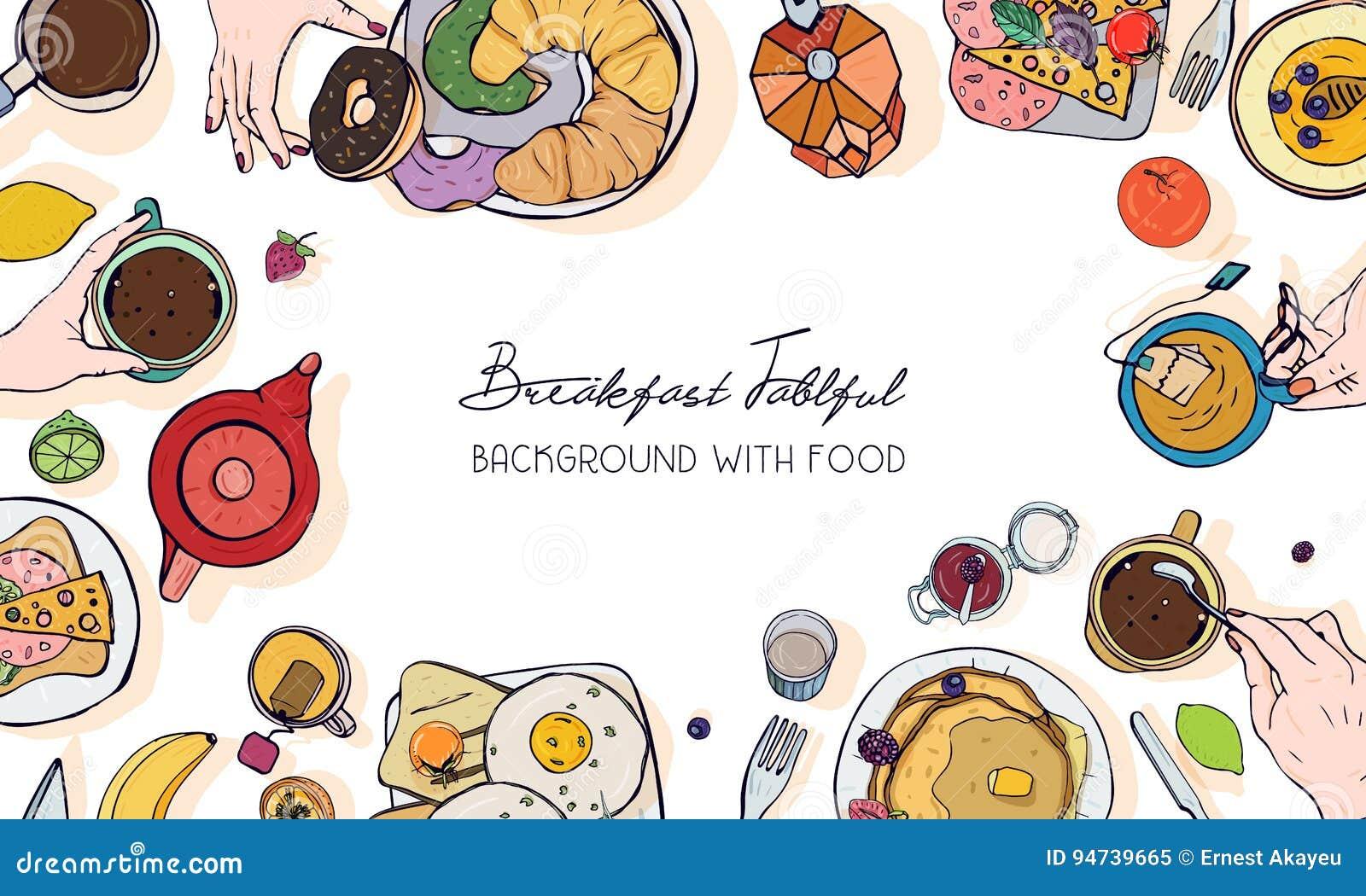 Bandeira horizontal da propaganda no tema do café da manhã Contexto com bebida, panquecas, sanduíches, ovos, croissant e frutos