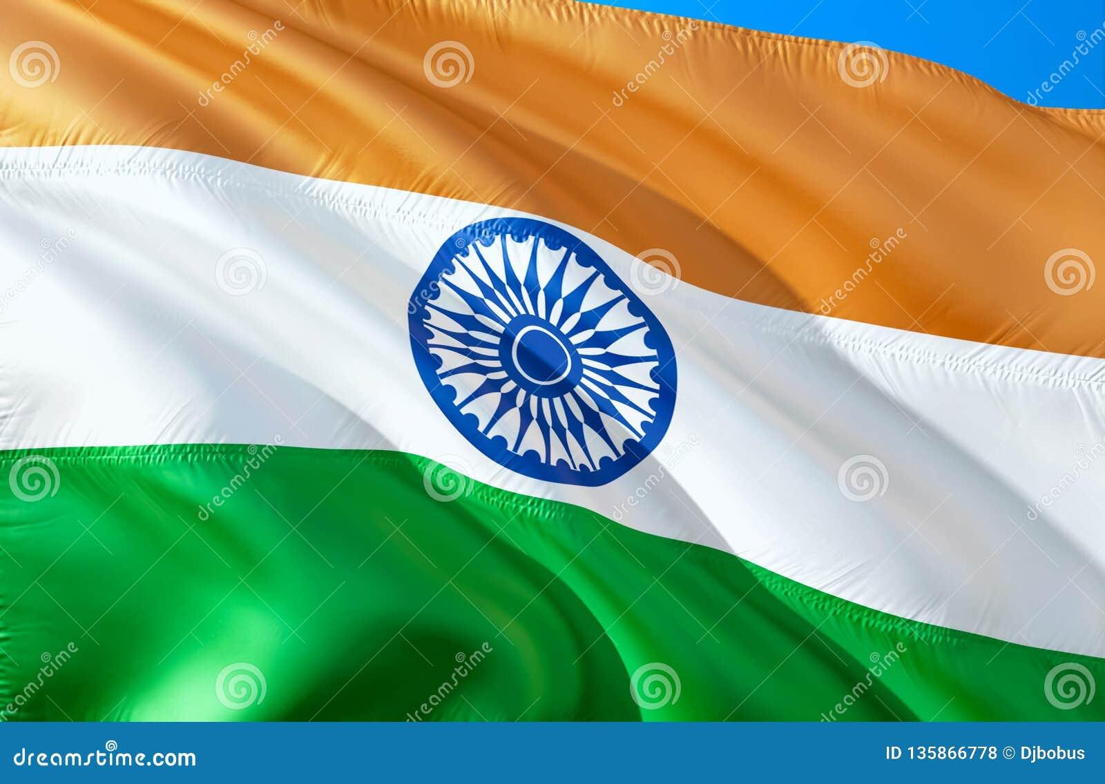 Bandeira indiana projeto de ondulação da bandeira 3D O símbolo nacional da Índia, rendição 3D Cores nacionais indianas Sinal de o