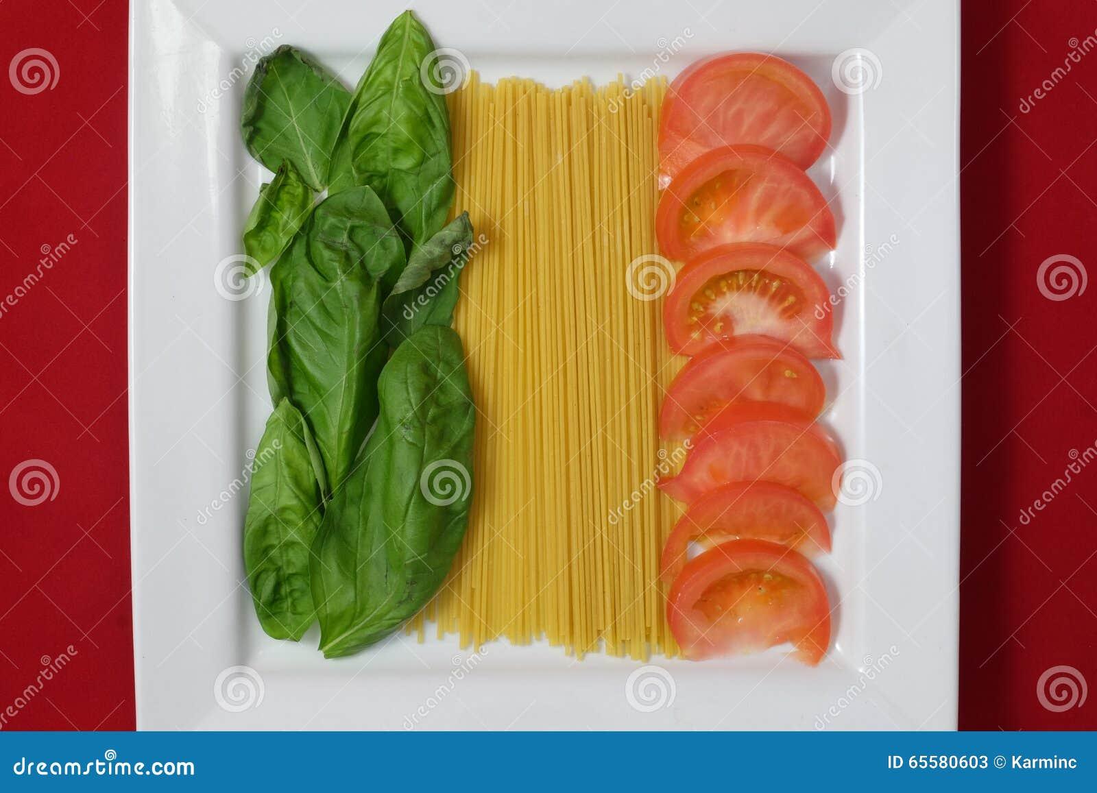 Bandeira italiana em uma placa do alimento