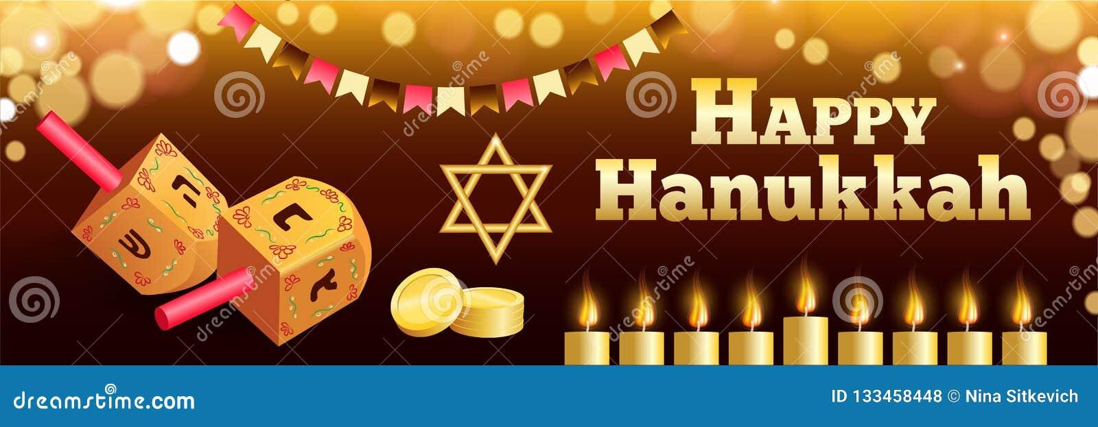 Bandeira judaica feliz de hanukkah, estilo realístico