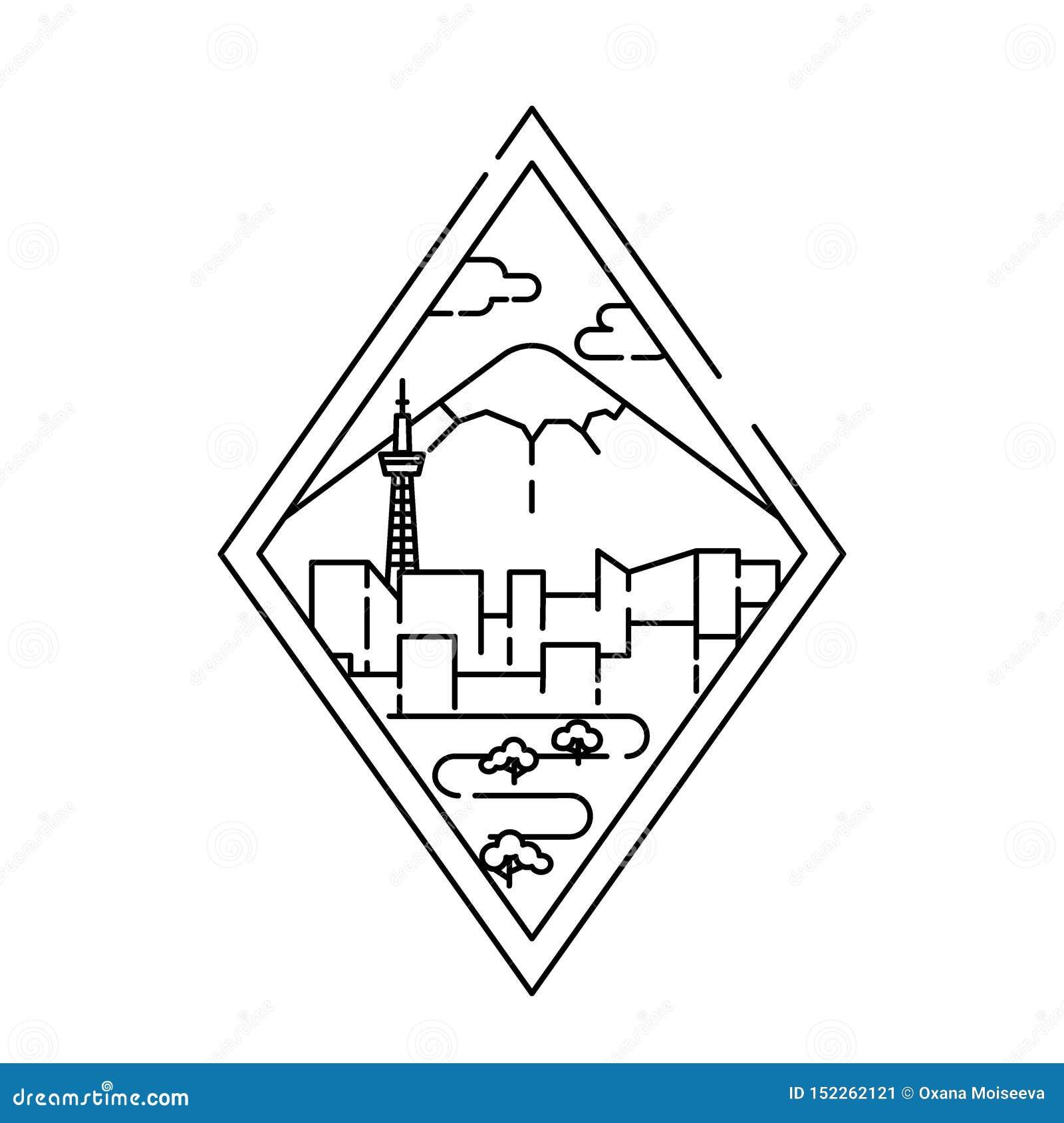 Bandeira linear da cidade do Tóquio Linha arte