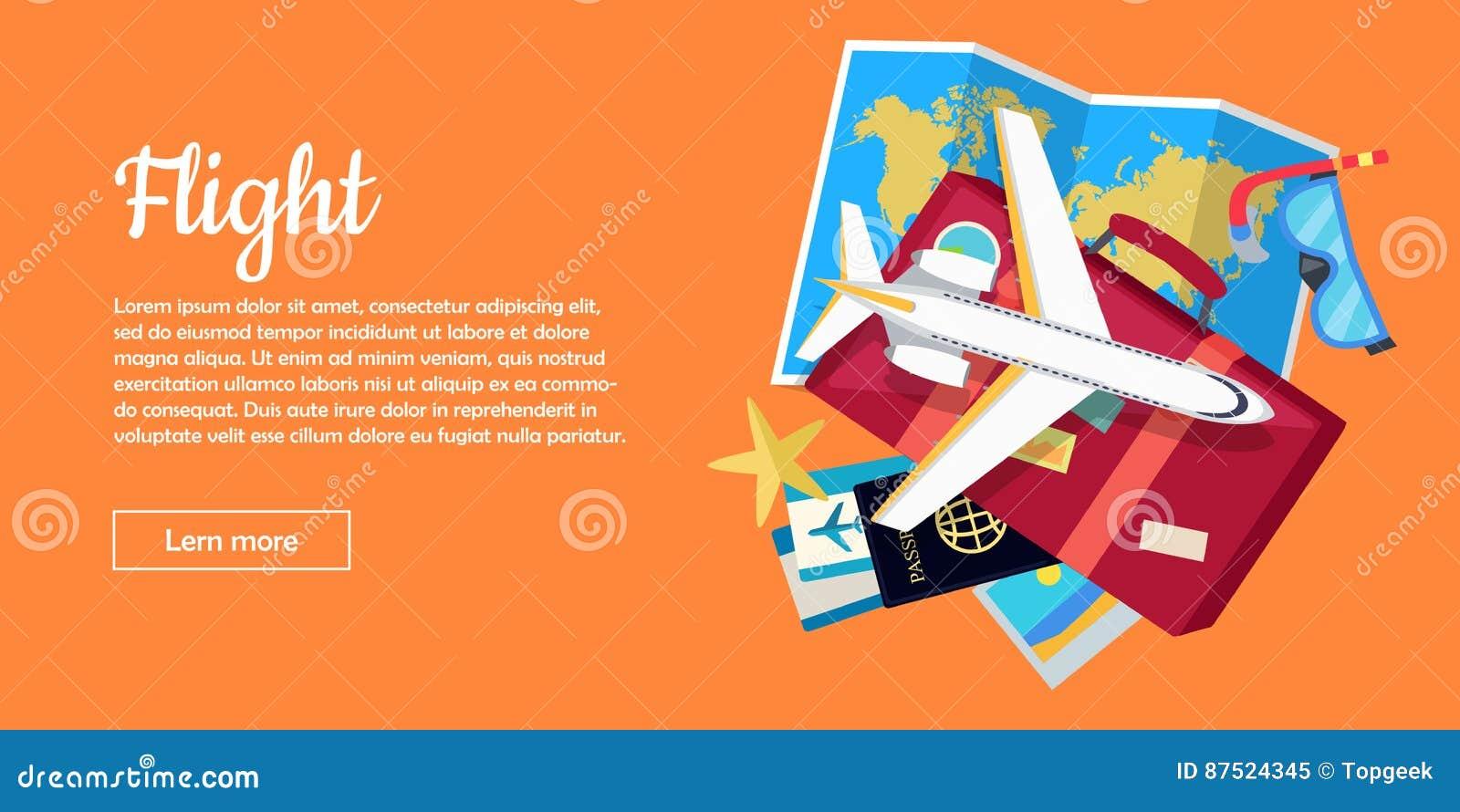 Bandeira lisa conceptual da Web do vetor do estilo do voo
