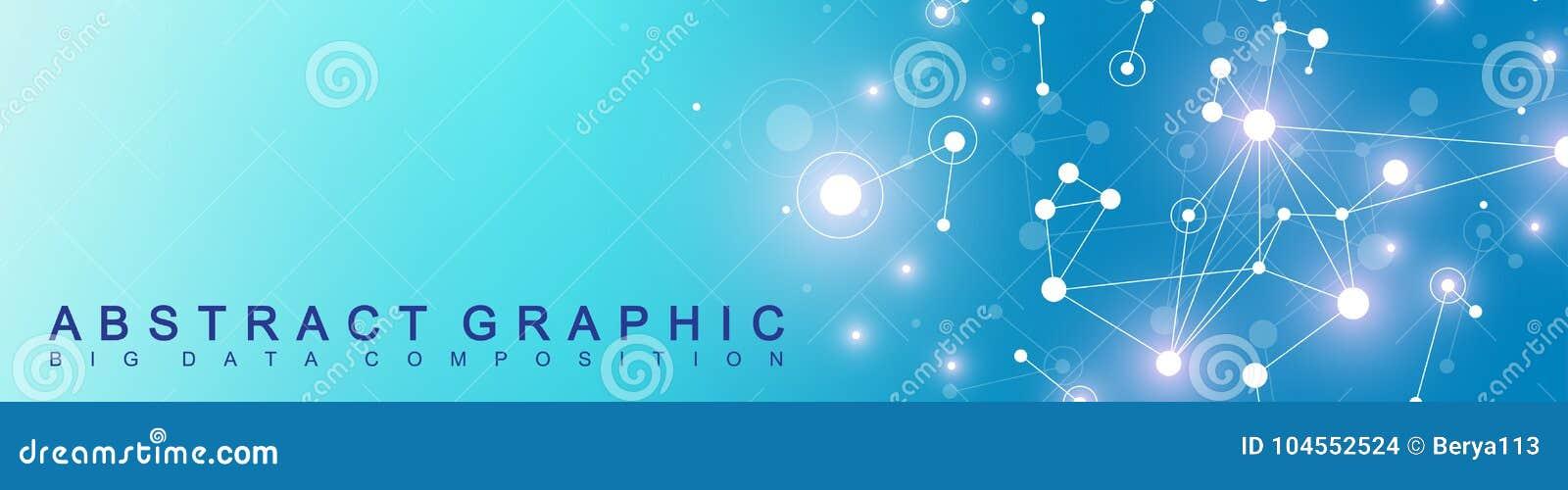 Bandeira moderna da tecnologia Apresentação abstrata geométrica Fundo de uma comunicação Linhas plexo e pontos cybernetic
