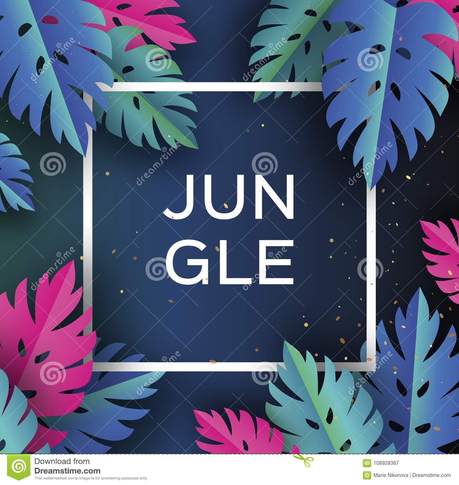 Bandeira na moda da selva de Monstera Folhas de palmeira tropicais cortadas papel, plantas exotic hawaiian Espaço para o texto Fr