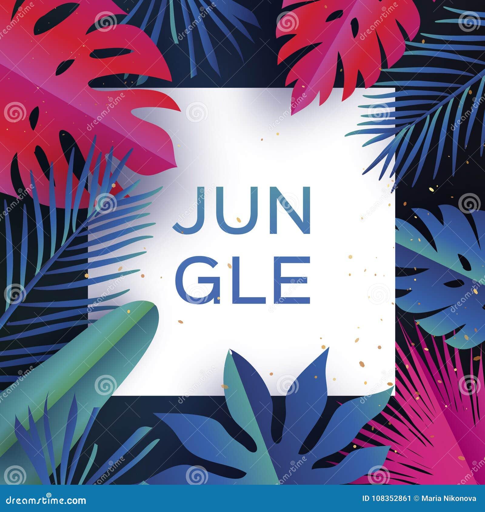 Bandeira na moda da selva Folhas de palmeira tropicais cortadas papel, plantas exotic hawaiian Espaço para o texto Frame quadrado