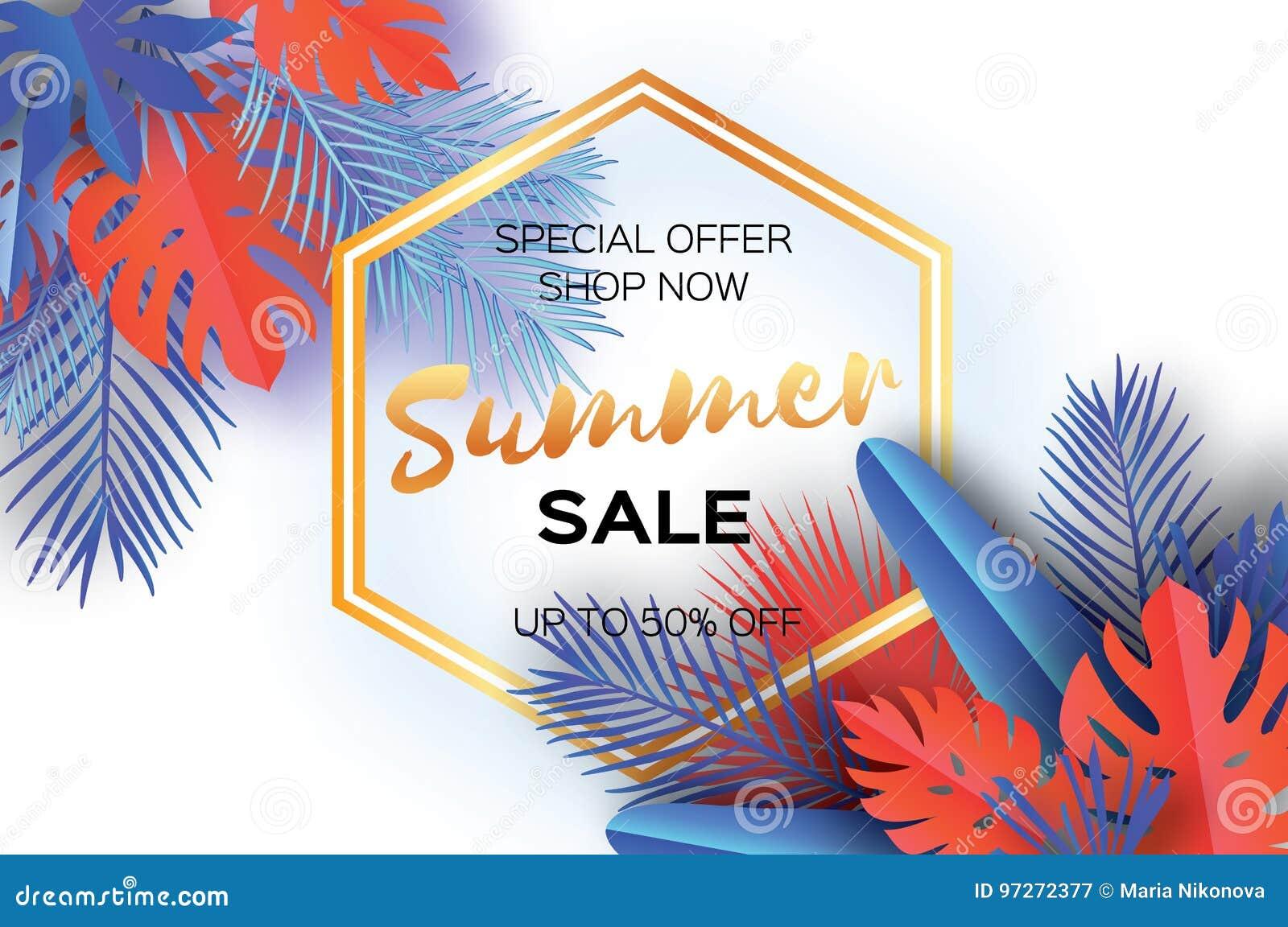 Bandeira na moda do molde da venda do verão Folhas de palmeira tropicais da arte de papel, plantas exotic hawaiian Espaço para o