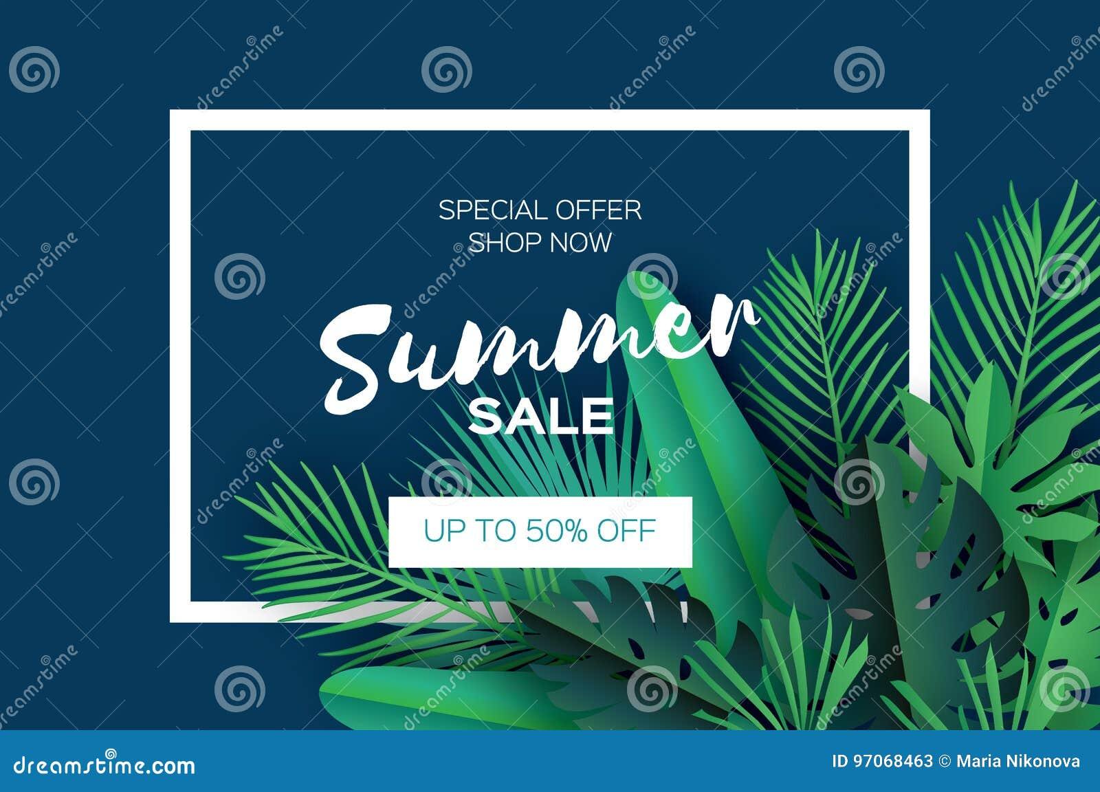 Bandeira na moda do molde da venda do verão Folhas de palmeira tropicais da arte do corte do papel, plantas exotic hawaiian Espaç