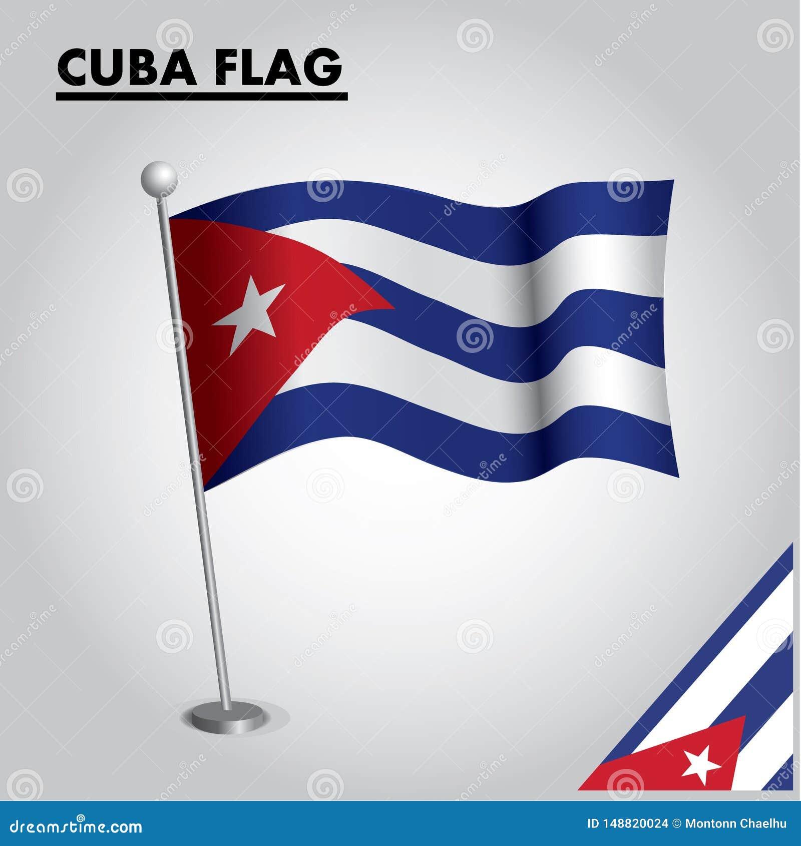 Bandeira nacional da bandeira de CUBA de CUBA em um polo