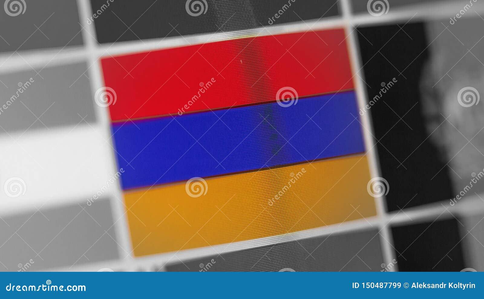 Bandeira nacional de Armênia do país Bandeira de Armênia na exposição, um efeito de ondeamento digital