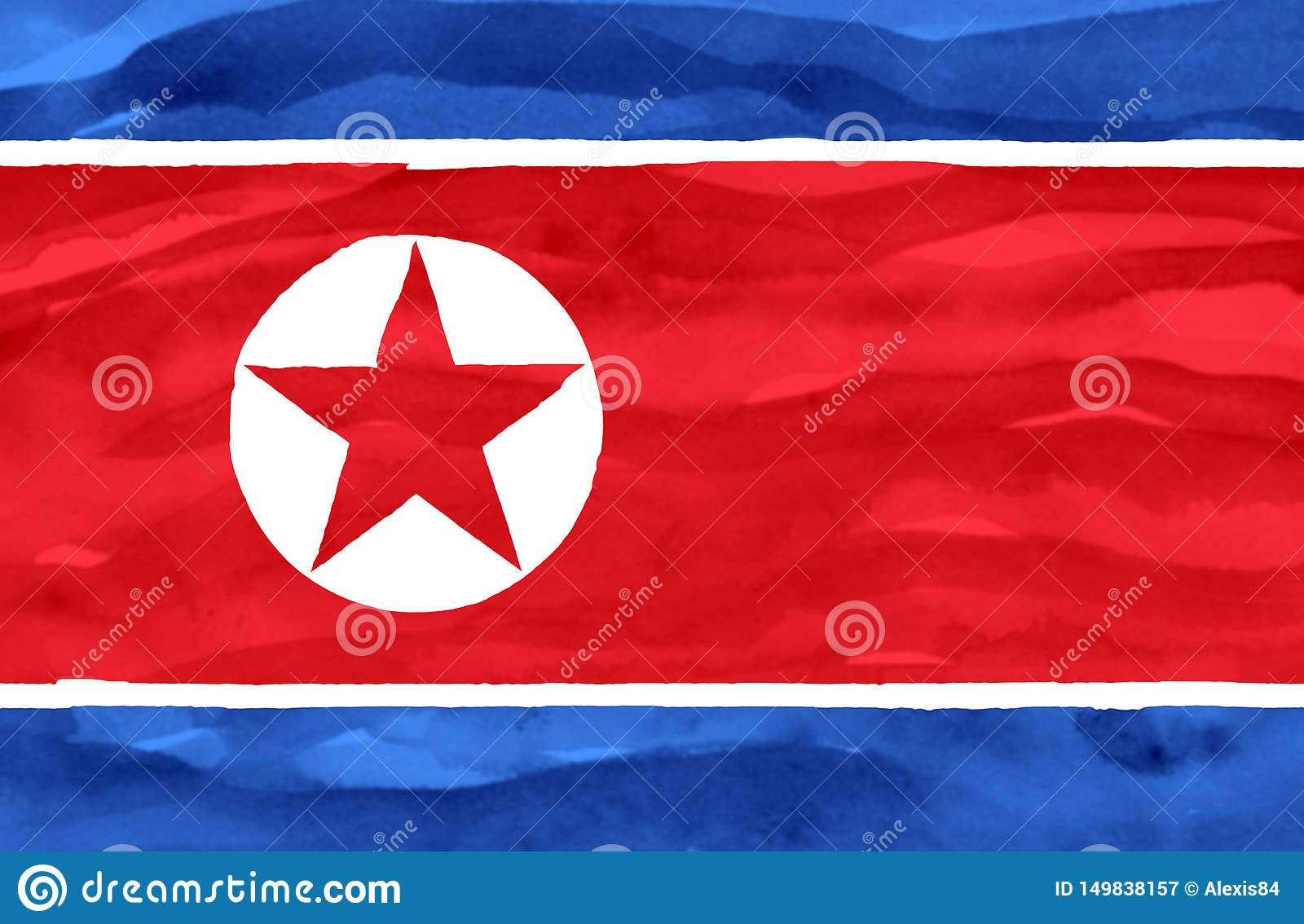 Bandeira pintada da Coreia do Norte
