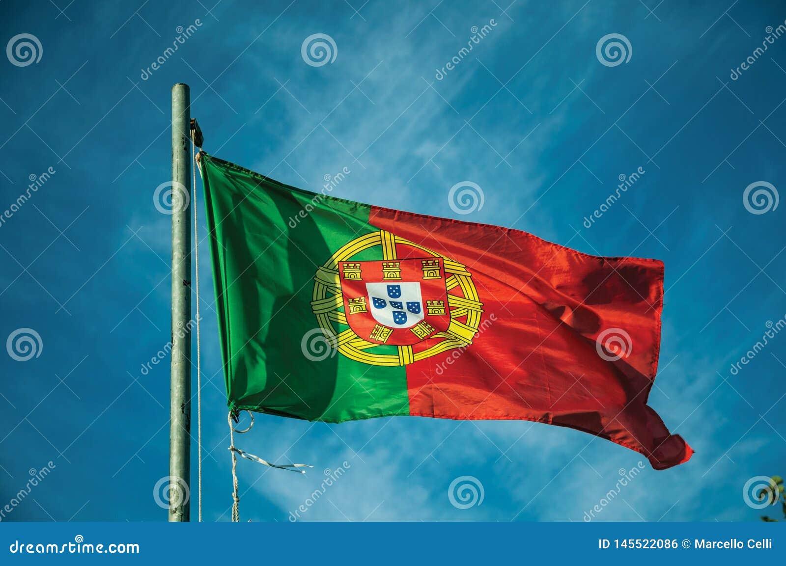Bandeira portuguesa que vibra no c?u azul