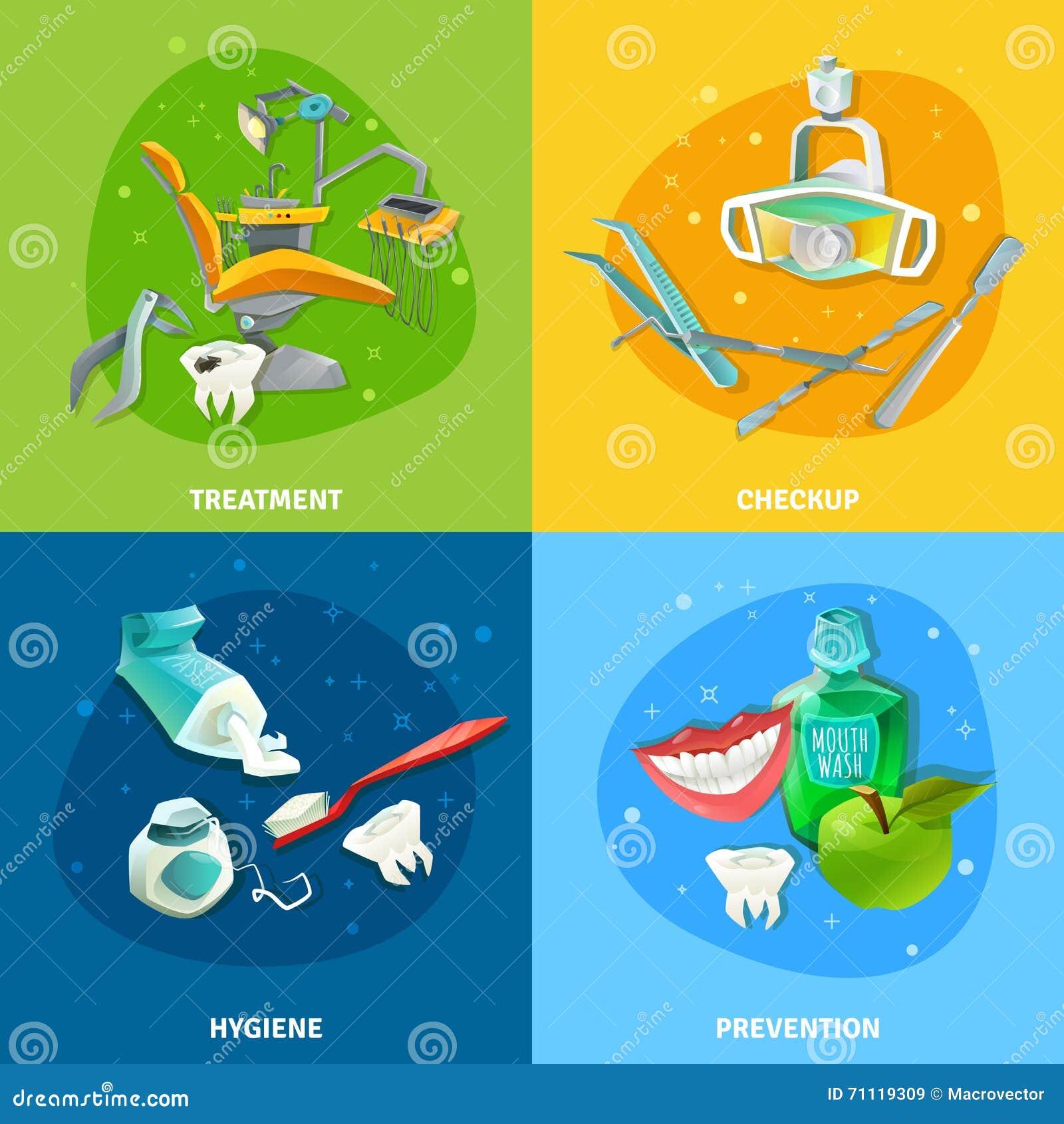 9ebfea617 Os ícones lisos do conceito 4 detalhados dos cuidados dentários esquadram o  cartaz da composição com a ilustração do vetor dos símbolos do tratamento  do ...