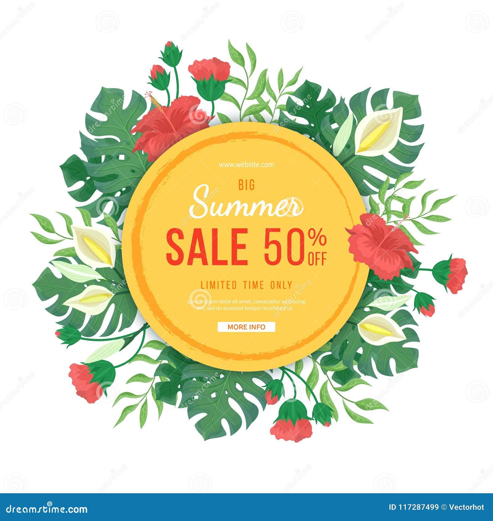 Bandeira redonda grande da venda do verão Flores e botões dos hibiscus, das folhas e das flores do monstera, palmas Cartaz exótic