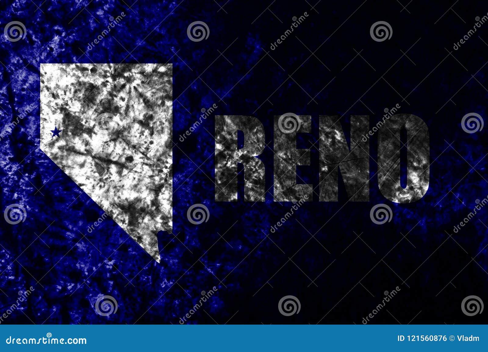 Bandeira velha do grunge da cidade de Reno, Nevada State, Estados Unidos da América