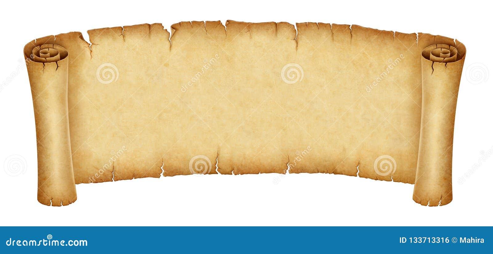 Bandeira velha do rolo isolada no fundo branco