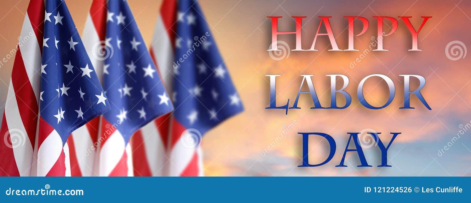 Bandeiras americanas do Dia do Trabalhador