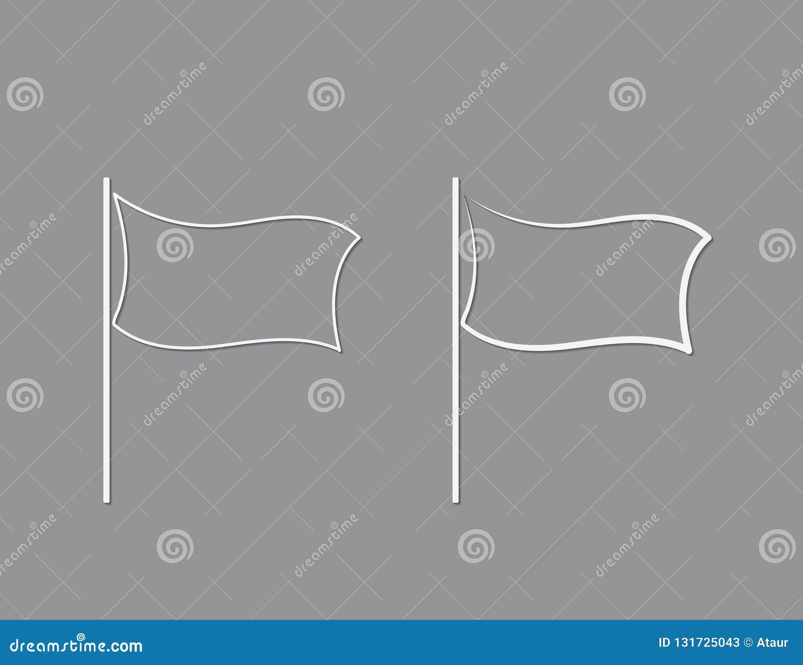 Bandeiras brancas da cor com linhas simples para projetos e ponteiros na ilustração preta do vetor do fundo