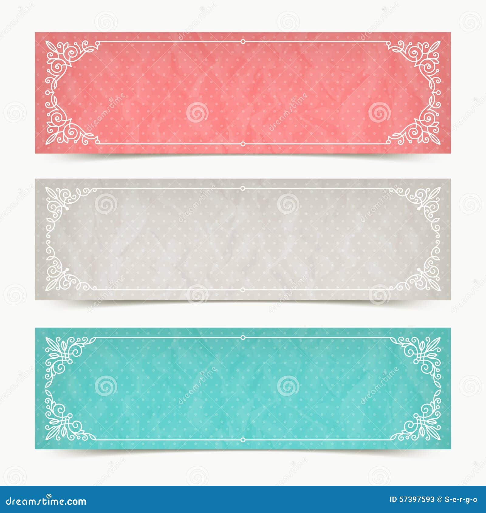 Bandeiras da cor de papel com quadros decorativos caligráficos