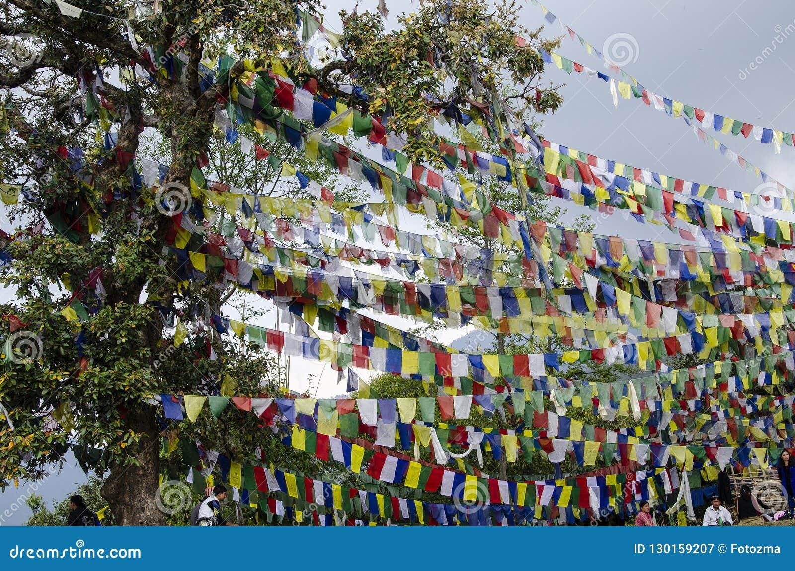 Bandeiras da oração em Kathmandu
