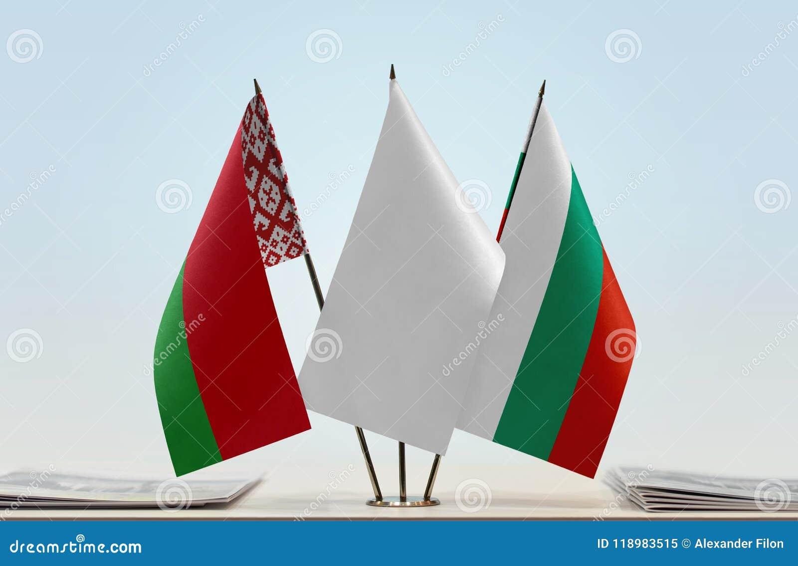 Bandeiras de Bielorrússia e de Bulgária