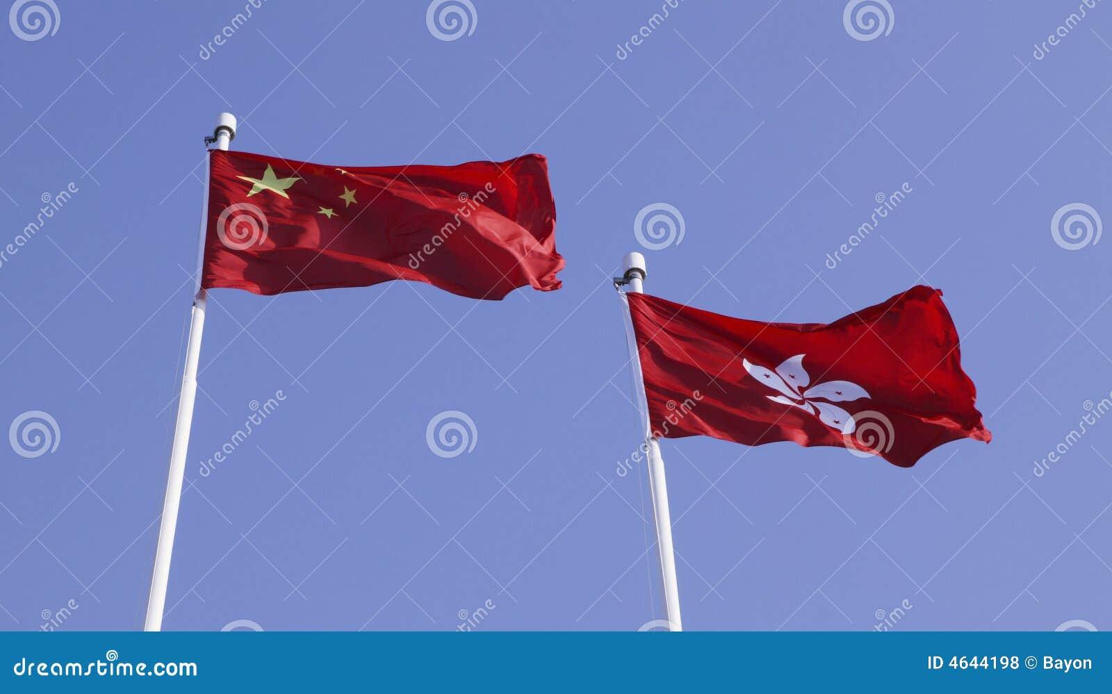 Bandeiras de China e de Hong Kong