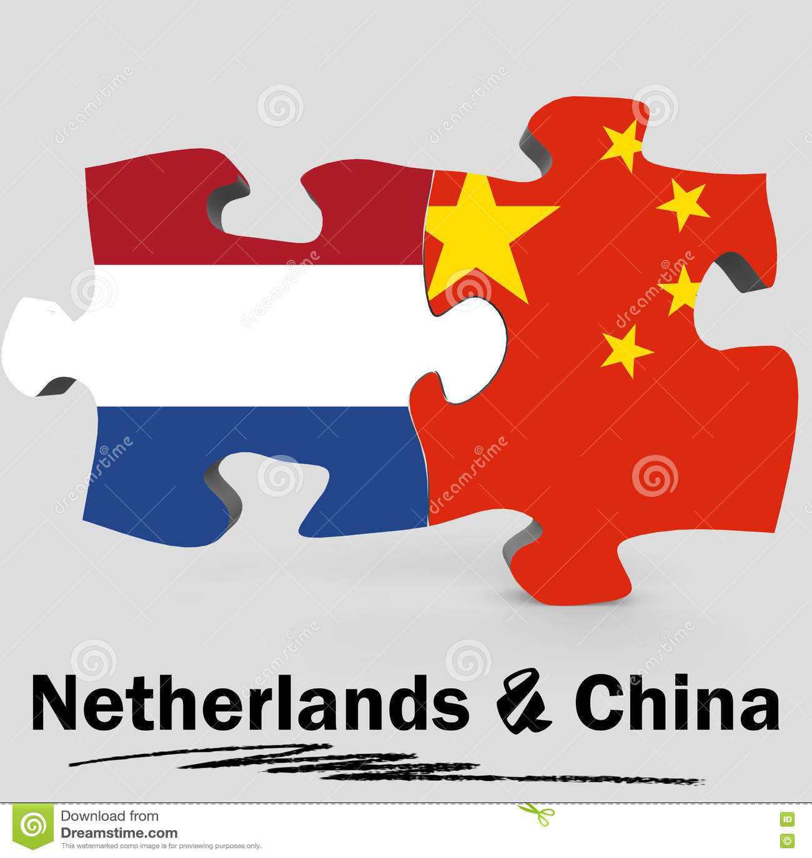 Bandeiras de China e de Países Baixos no enigma