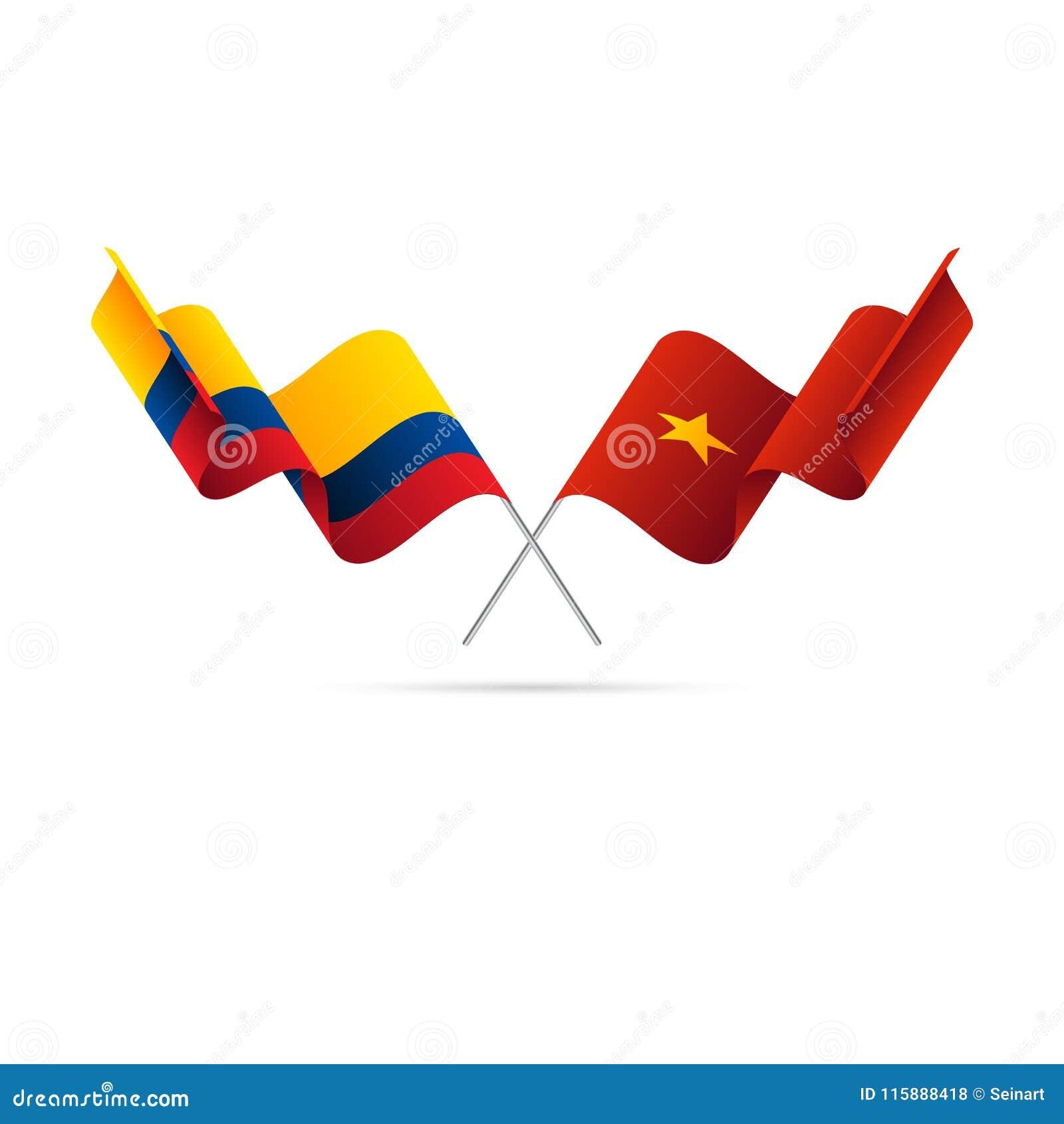 Bandeiras de Colômbia e de Vietname Bandeiras cruzadas Ilustração do vetor