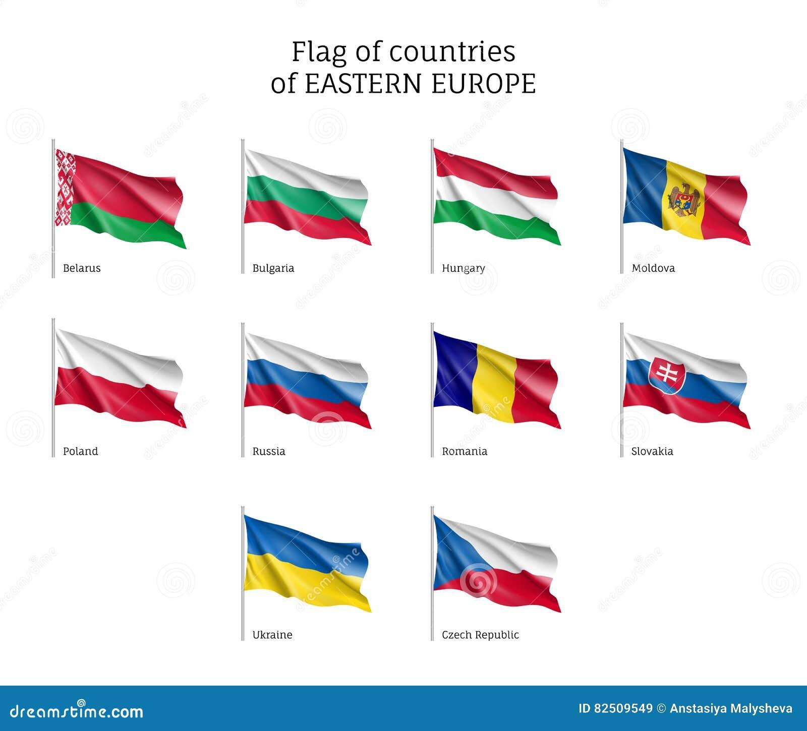 Bandeiras de ondulação de Europa Oriental
