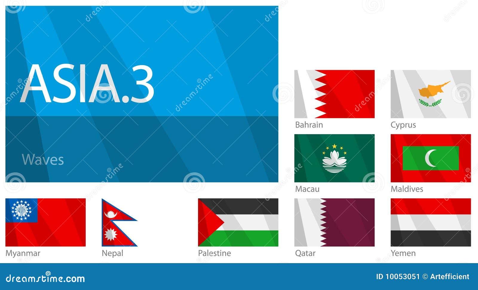 Bandeiras de ondulação de países asiáticos - parte 3.