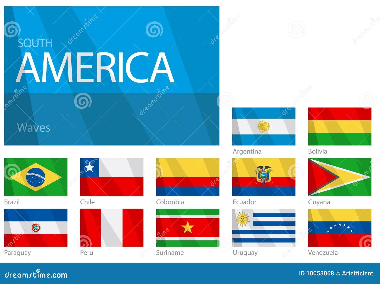Bandeiras de ondulação do sul - países americanos